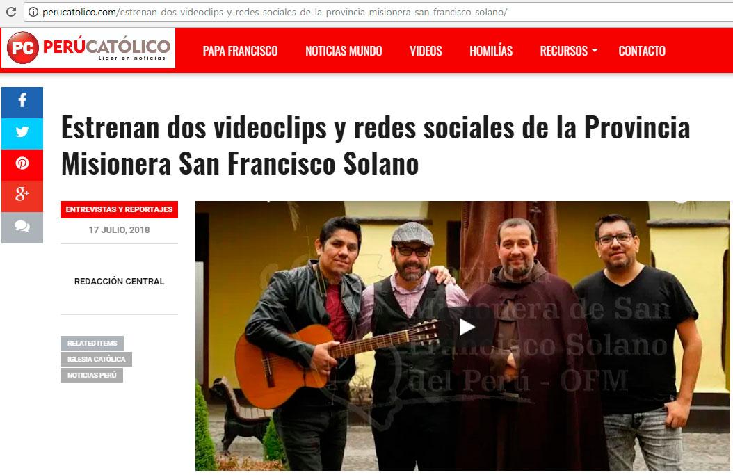 Perú Católico: Estrenan dos videoclips y redes sociales de la Provincia Misionera San Francisco Solano
