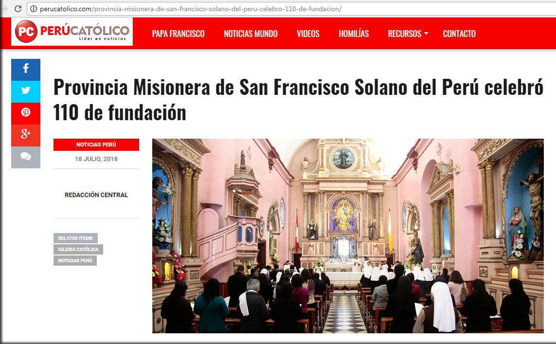 Perú Católico: Provincia Misionera de San Francisco Solano del Perú celebró 110 años de fundación