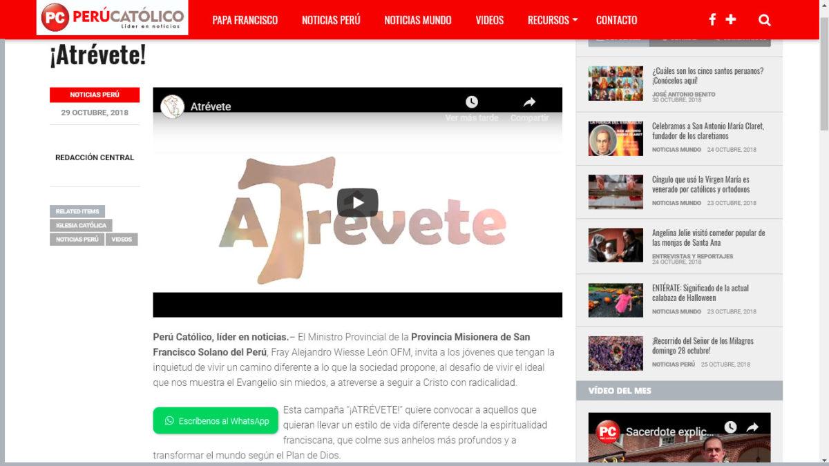 Perú Católico: Provincia Misionera de San Francisco Solano del Perú inicia campaña ¡ATRÉVETE!