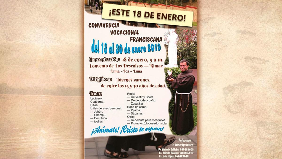 CONVIVENCIA VOCACIONAL FRANCISCANA: 18 DE ENERO