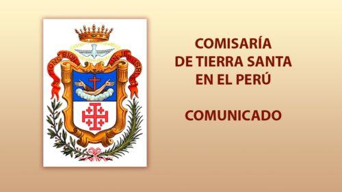 COMUNICADO Comisaría de Tierra Santa en el Perú