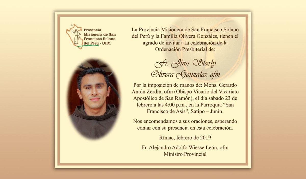 Ordenación Presbiterial de Fray Jinn Starly Olivera Gonzales, ofm