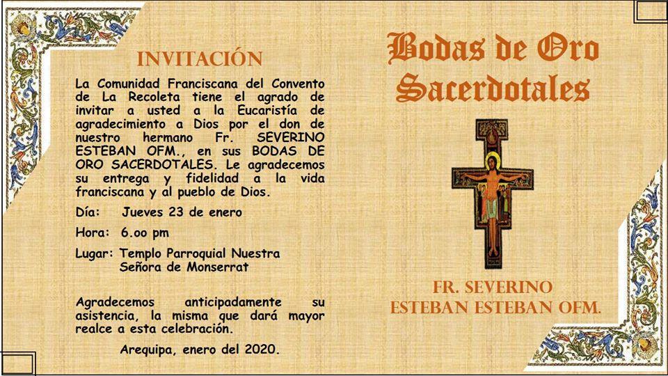 Fr. SEVERINO ESTEBAN OFM., BODAS DE ORO SACERDOTALES