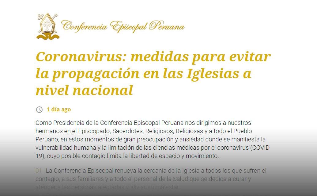 Comunicado de la Conferencia Episcopal Peruana: medidas para evitar la propagación del Coronavirus