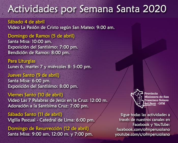 Actividades por Semana Santa 2020