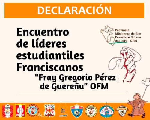 Declaración de Líderes Estudiantiles Franciscanos