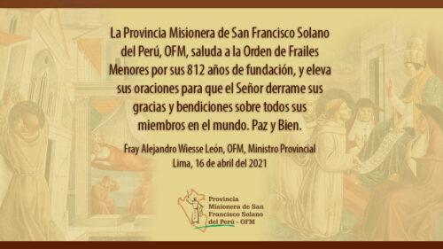 Saludos a la OFM por sus 812 años de fundación