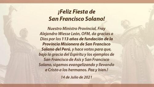 ¡Feliz Fiesta de San Francisco Solano!