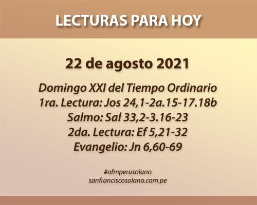 Lecturas del día: 22 de agosto 2021