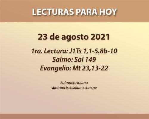 Lecturas del día: 23 de agosto 2021