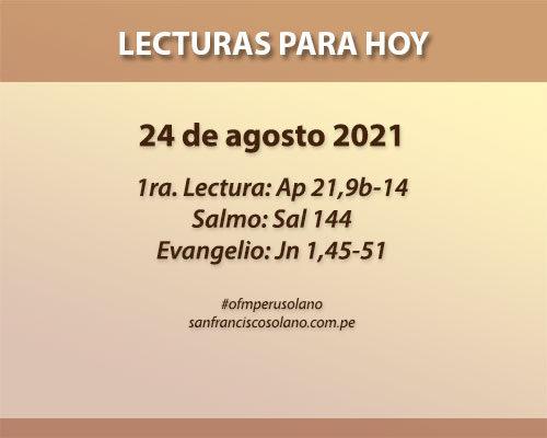 Lecturas del día: 24 de agosto 2021