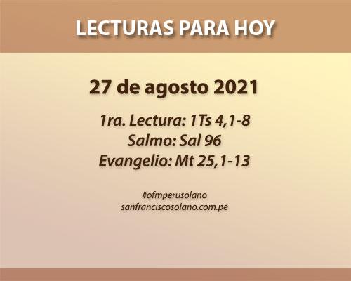 Lecturas del día: 27 de agosto 2021