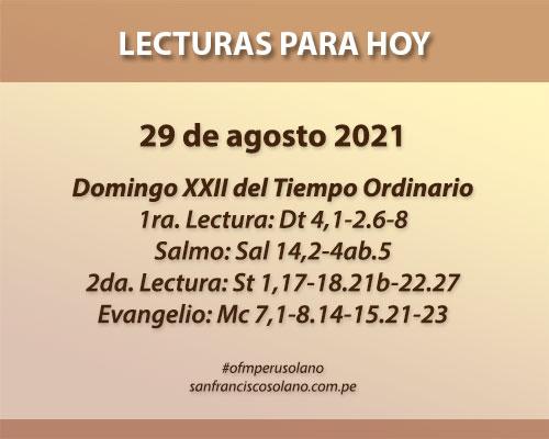 Lecturas del día: 29 de agosto 2021