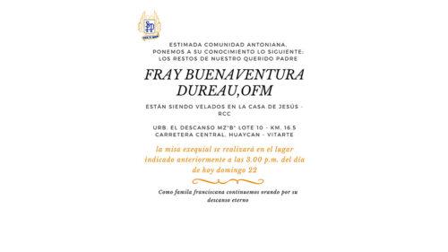 Velatorio de Fray Buenaventura Dureau, OFM